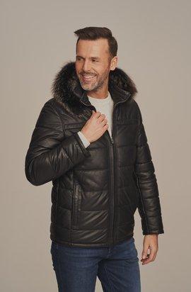Pánská kožená bunda s kapucí