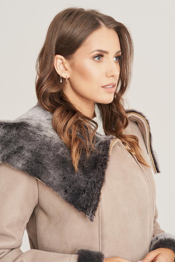 Dámský zimní kožený kabát - Kabát z ovčí kůže
