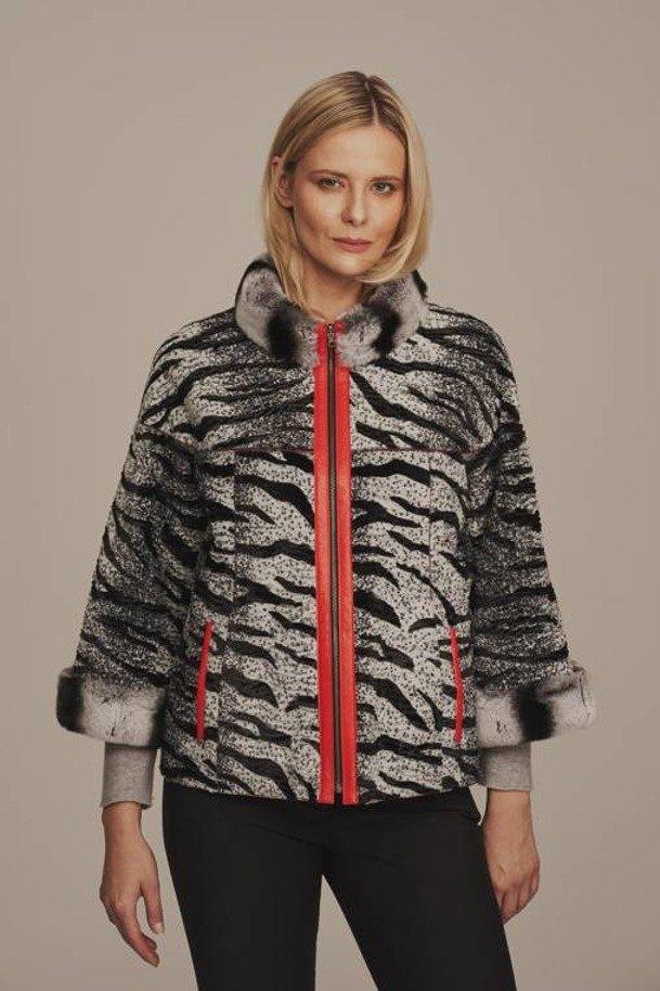 Dámská kožená bunda s kožešinou