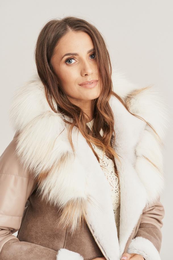 Dámský kabát z ovčí kůže - Dámská kožená zimní bunda
