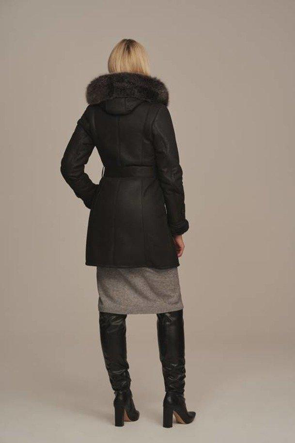 Dámský kožich dubeňák - Zimní kabát s kapucí