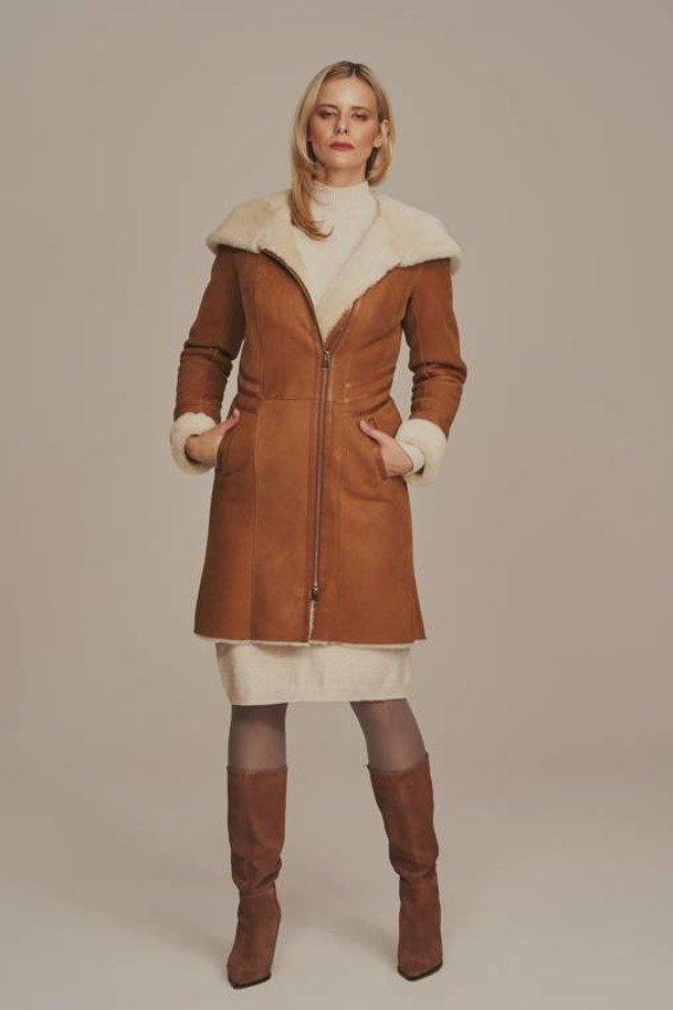 Dámský zimní kožený kabát s kapucí - Kabát dubeňák