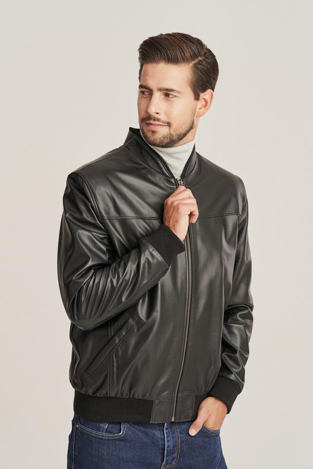 Pánská bunda kožená bomber černá