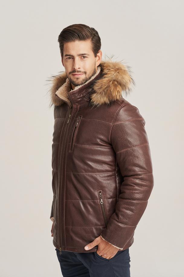 Pánská zimní kožená bunda hnědá