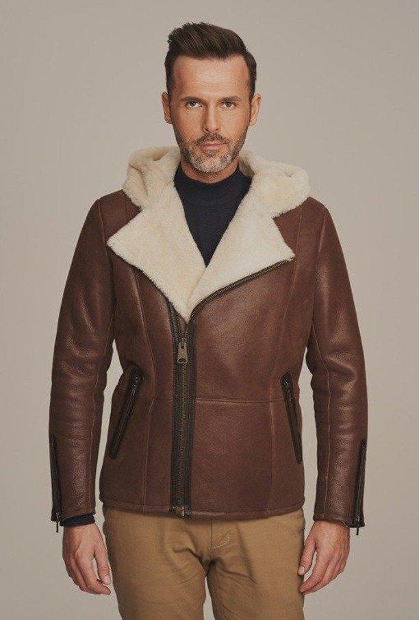 Pánská zimní kožená bunda s kapucí - Pánský kožich
