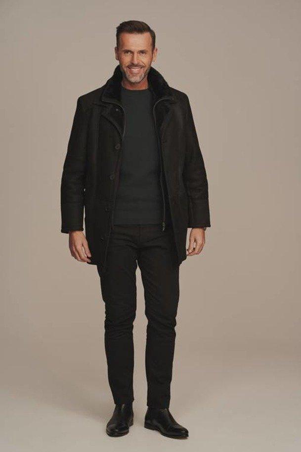 Pánský zimní kabát s kožíškem - Zimní kožich
