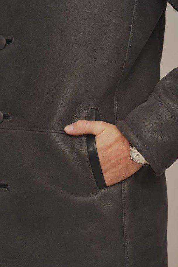 Pánský zimní zateplený kožený kabát z ovčí kůže