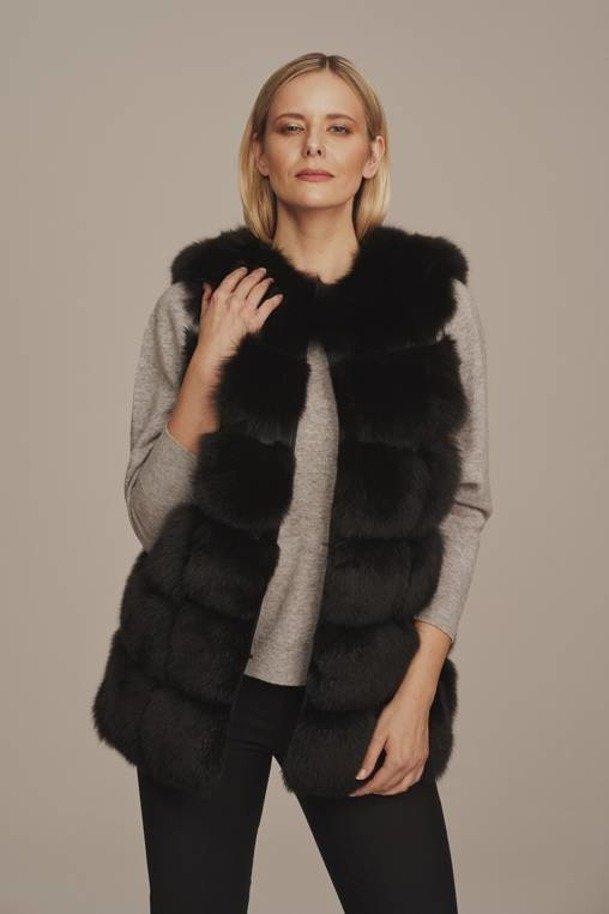 Black fox fur vest