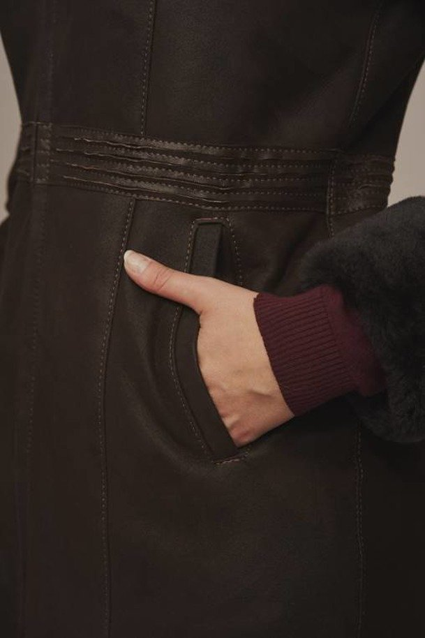 Ladies long sheepskin coat