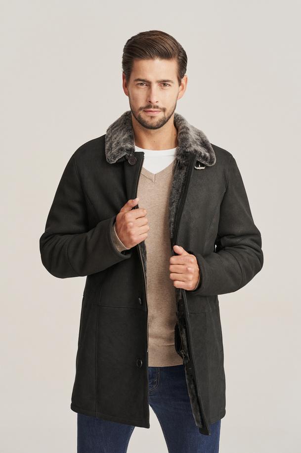 Men's black shearling coat