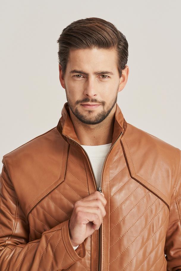 Men's brown leather jacket