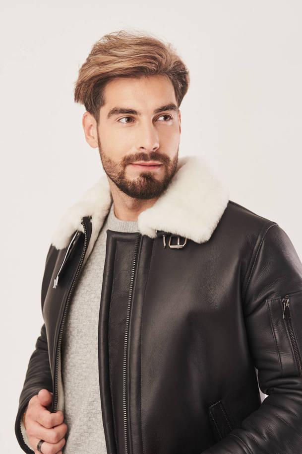 Men's sheepskin flying jacket