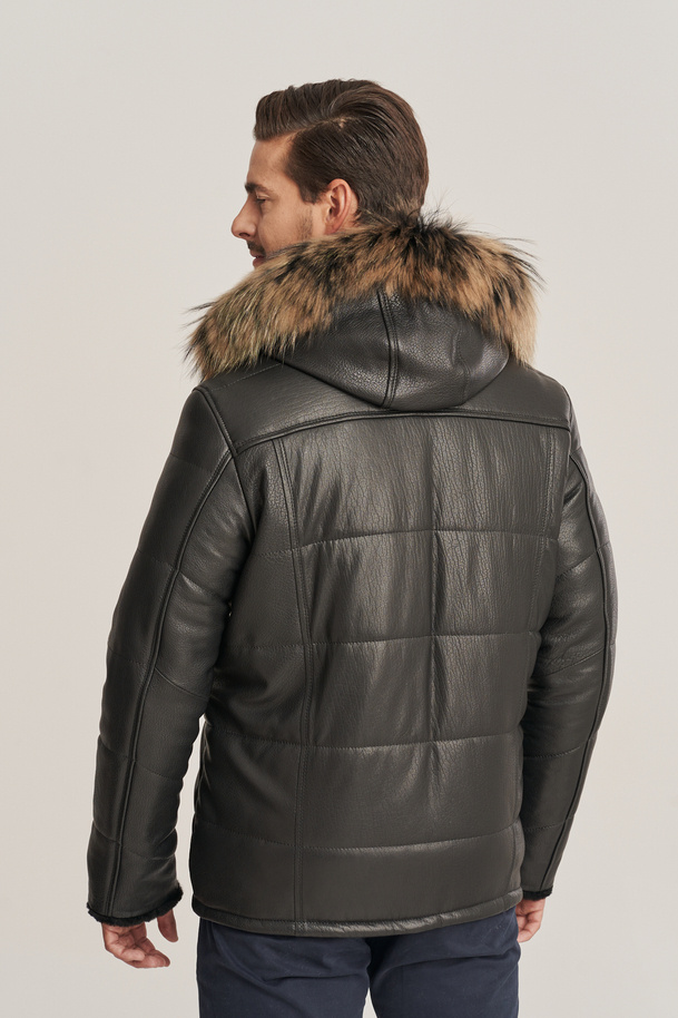 Men's winter black leather jacket with a hood