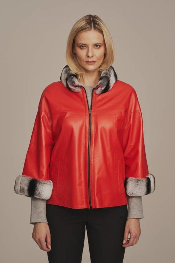 Red women's leather jacket