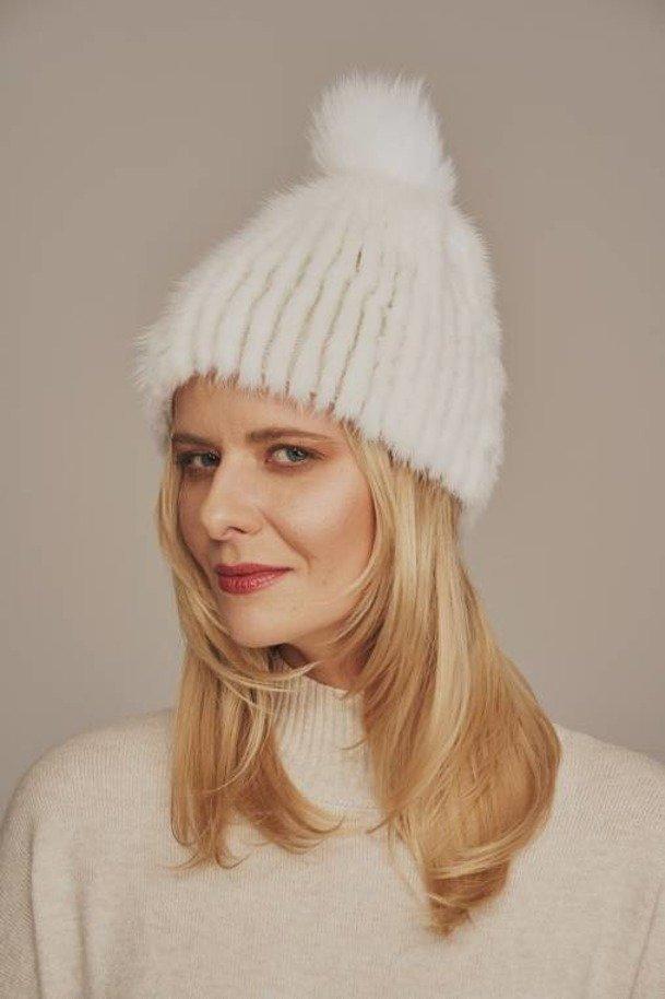 White mink fur hat