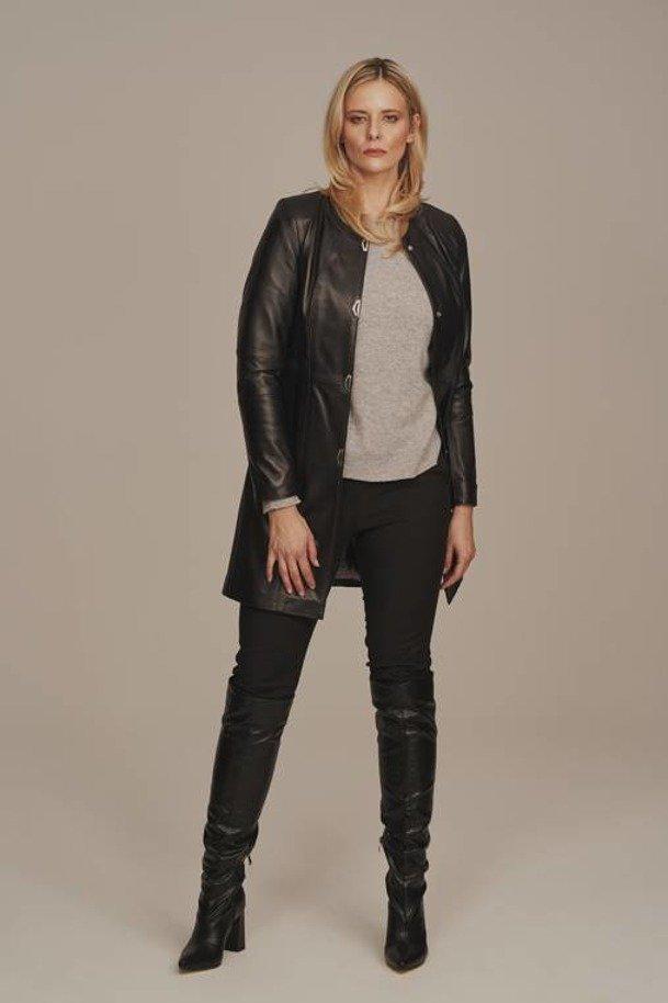 Women's long leather coat