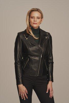 Schwarze Leder-Bikerjacke für Damen