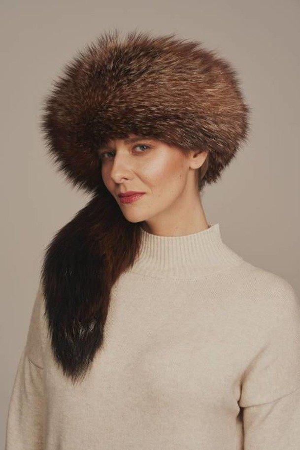 Damen Trappermütze aus Fuchs