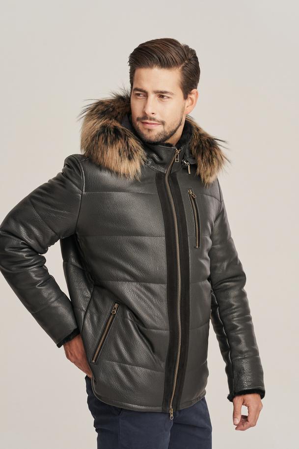 Herren Winter schwarze Lederjacke mit Kapuze