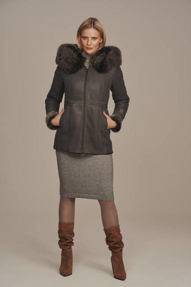 Lammfelljacke Damen Grau mit Kapuze