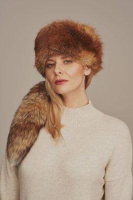 Women's red fox fur hat
