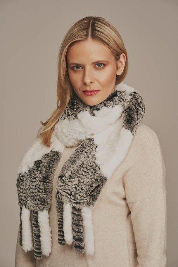 Women's winter gray fur scarf