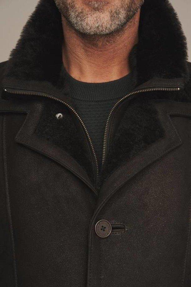Skinnjakke med pels herre