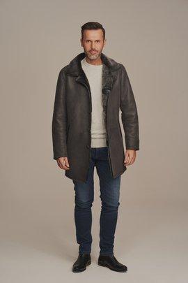 Płaszcz męski zimowy ze skóry naturalnej