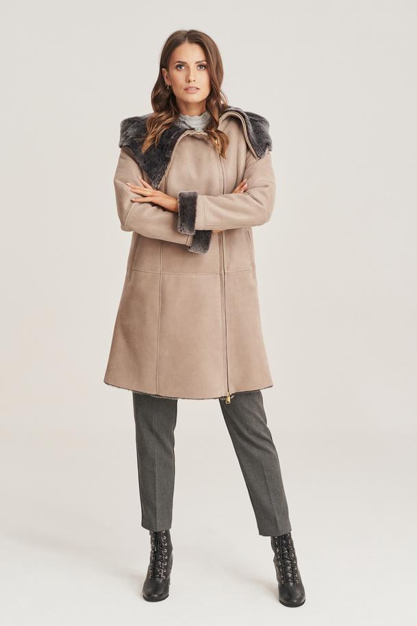 Kożuch damski - Płaszcz skórzany damski zimowy