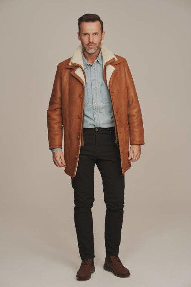 Kożuch męski - Płaszcz męski zimowy brązowy