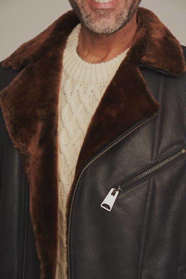Kurtka męska zimowa ramoneska z futerkiem – Kożuch męski