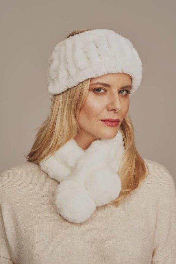 Opaska na głowę zimowa futrzana biała