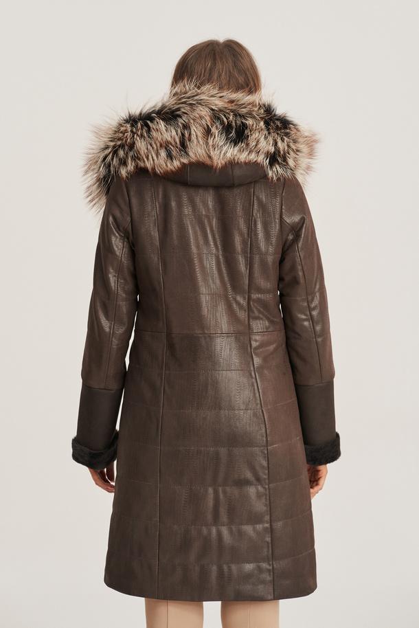Płaszcz kożuch damski - Kurtka zimowa damska skórzana