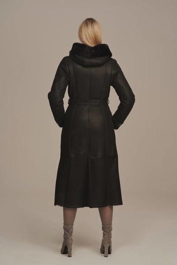 Płaszcz kożuch damski z kapturem