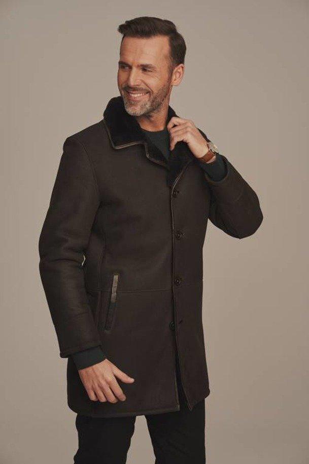 Płaszcz męski zimowy z futerkiem - Futro męskie
