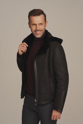 Pánska krátka zimná bunda s kapucňou - Pánsky kožuch