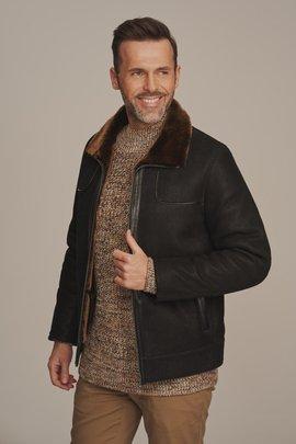 Pánska zimná bunda z ovčej kože