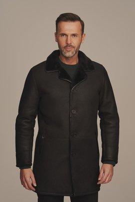 Pánsky dlhý čierny zimný kabát