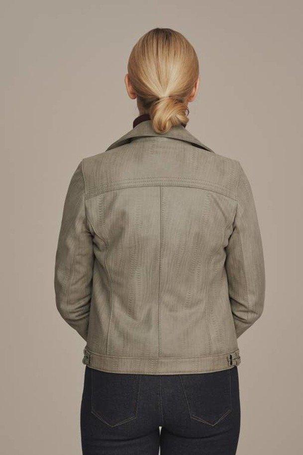 Dámska sivá kožená motorkárska bunda