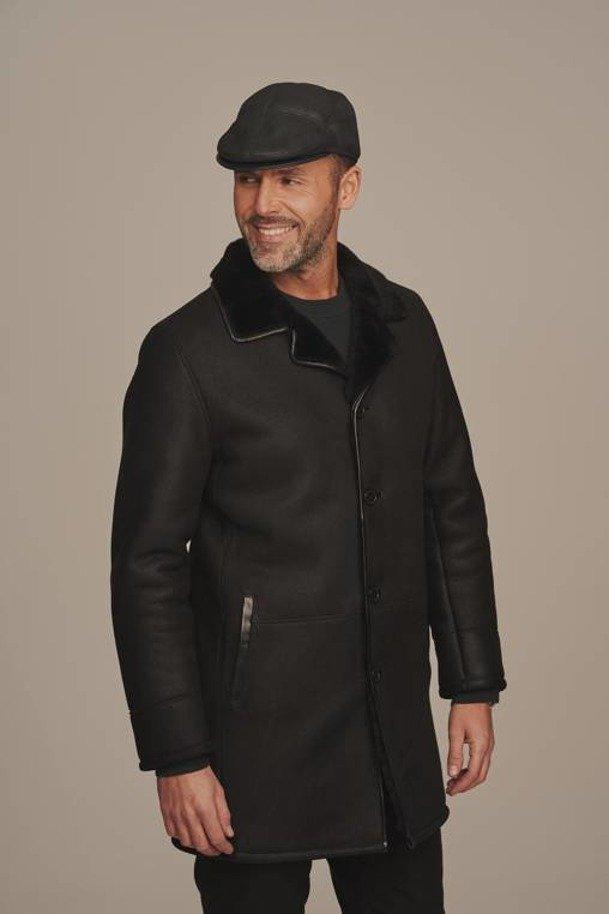 Elegantná čierna pánska zimná čiapka