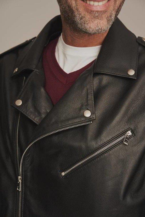 Pánska kožená motocyklová bunda